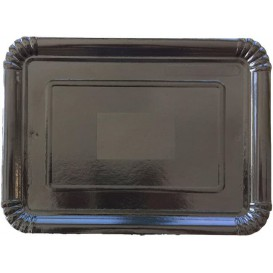 Plat rectangulaire en Carton Noir 28x36 cm (300 Unités)