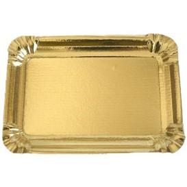 Plat rectangulaire en Carton Doré 12x19 cm (100 Unités)