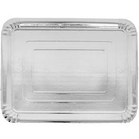 Papieren dienblad Rechthoekige vorm zilver 10x16 cm (100 stuks)