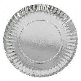 Papieren bord Rond vormig zilver 10cm (100 stuks)