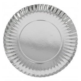 Papieren bord Rond vormig zilver 18cm (100 stuks)