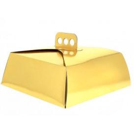 Papieren cake doosje Vierkant goud 32,5x32,5x10cm (100 stuks)