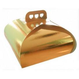 Papieren cake doosje met Hendel Cake vorm goud 27,5x27,5x14cm (50 stuks)
