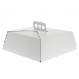 Papieren cake doosje Vierkant wit 24,5x24,5x10cm (100 stuks)