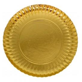 Assiette en Carton Ronde Doré 210 mm (100 Unités)