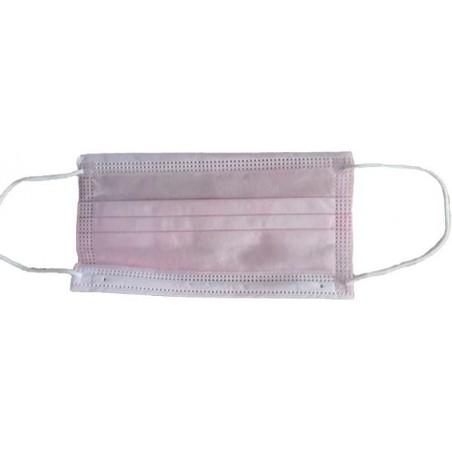 Masque Chirurgical Rose de 3 plis avec élastiques (50 Utés)