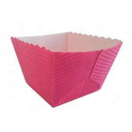 Bakvorm van papier Vierkant paars Ø4,2x3,7 cm (75 stuks)