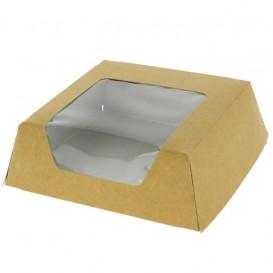 Papieren cake doosje met venster kraft 12x12x4cm (500 stuks)