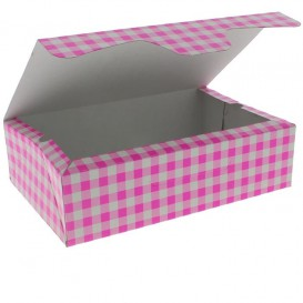 Papier bakkerij doos roze 17,5x11,5x4,7cm 250g (20 stuks)