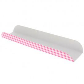 Papieren dienblad voor een wafel Opening roze 30x6,1x3,2cm (100 stuks)