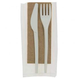 Stof gebaseerd op Maizena PLA bestekset : vork+ lepel + mes + servet CPLA (250 stuks)