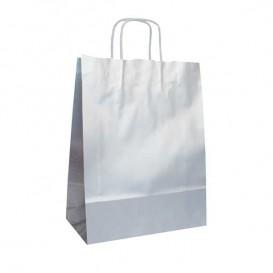Papieren zak met handgrepen kraft zilver 100g 24+12x31cm (250 eenheden)
