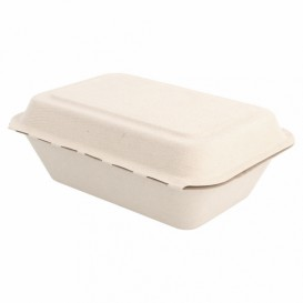 """Suikerriet Gescharnierd Container """"Menu Box"""" 13,6x18,2x6,4cm (50 stuks)"""