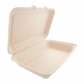 Boîte Canne à Sucre Couvercle à charnière Naturel 335x230x75mm (50 Utés)