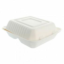 """Suikerriet Gescharnierd Container """"Menu Box"""" 3 Compartmenten wit 20x20x7,5cm (200 stuks)"""