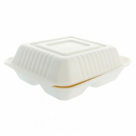 Boîte en Canne à Sucre Blanc 3C 20x20x7,5cm (200 Utés)