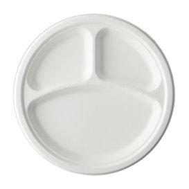 Assiette Canne à Sucre Bagasse 3C Blanc Ø25,3 cm (500 Utés)