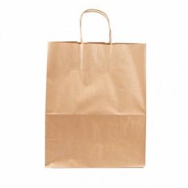 Papieren zak met handgrepen kraft bruin 100g 25+13x33 cm (25 eenheden)