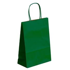 Sac en Papier Kraft Vert avec Anses 80g 26+14x32 cm (50 Utés)