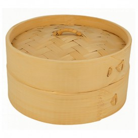 Bamboe stomer met Deksel Ø15x8cm (1 stuk)