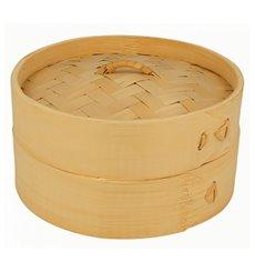 Panier Vapeur en Bambou avec Couvercle Ø15x8cm (1 Uté)