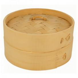 Panier Vapeur en Bambou avec Couvercle Ø15x8cm (100 Utés)