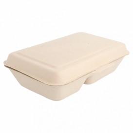 """Suikerriet Gescharnierd Container """"Menu Box"""" 2 Compartmenten 22,5x16,5x6,4cm (50 stuks)"""