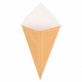 Gegolfd papier Dipping kegel kraft 22cm 100g (100 stuks)