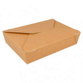"""Papieren take-out Container """"American"""" Naturel 1,97x1,40x0,46cm 1470ml (200 eenheden)"""