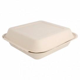 """Suikerriet Gescharnierd Container """"Menu Box"""" Naturel 20x20x7,5cm (50 stuks)"""