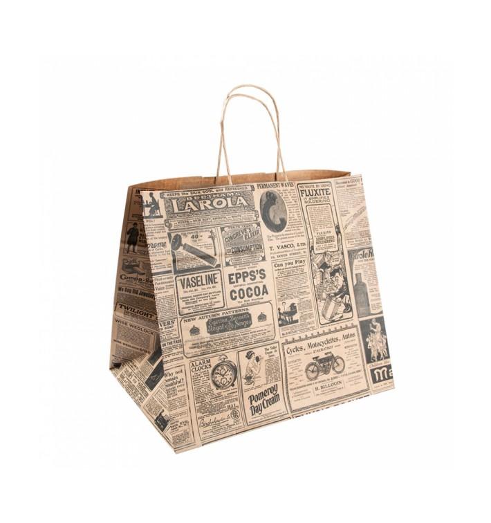 Sac Papier Kraft Naturel Times et Anses 26+14x32 cm (50 Utés)