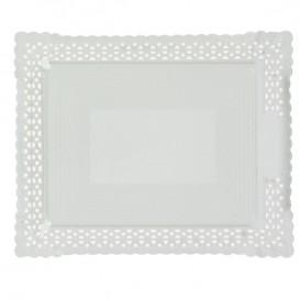 Plateau en Carton Dentelle Blanc 35x41 cm (100 Utés)