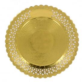 Assiette en Carton Ronde Dentelle Doré 32 cm (50 Utés)