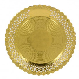 Assiette en Carton Ronde Dentelle Doré 30 cm (50 Utés)