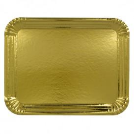 Plat rectangulaire en Carton Doré 16x22 cm (100 Unités)