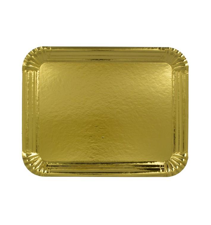 Plat rectangulaire en Carton Doré 22x28cm (600 Unités)
