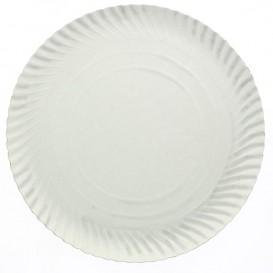 Papieren bord Rond vormig wit 44cm (100 stuks)