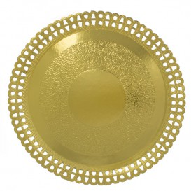 Assiette en Carton Ronde Dentelle Doré 310 mm (50 Utés)