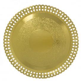 Assiette en Carton Ronde Dentelle Doré 310 mm (200 Utés)