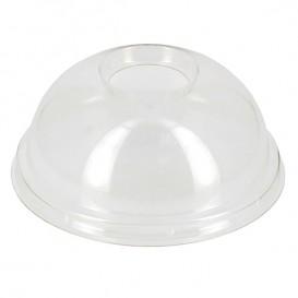 Plastic koepel Deksel met gat Ø9,5cm voor PLA en PET bekers 265, 364, 425 en 550ml (100 stuks)