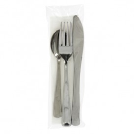 Plastic PS bestekset gemetalliseerd 3 stuks met servet (30 stuks)
