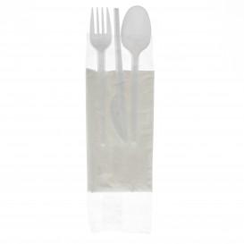 Plastic PS bestekset vork, lepel, mes en servet (250 stuks)