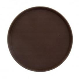 Plastic dienblad Rond vormig anti-slip bruin Ø40,0cm (1 stuk)
