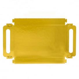 Papieren dienblad met handgrepen Rechthoekige vorm goud 32x7,5 cm (800 stuks)