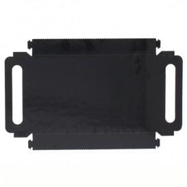 Papieren dienblad met handgrepen Rechthoekige vorm zwart 16x23 cm (100 stuks)