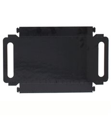 Plateau Rectangle Carton Noir Poignées 16x23 cm (100 Utés)