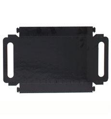Plateau Rectangle Carton Noir Poignées 32x7,5 cm (100 Utés)