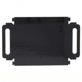 Papieren dienblad met handgrepen Rechthoekige vorm zwart 30x12 cm (600 stuks)