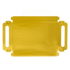 Papieren dienblad met handgrepen Rechthoekige vorm goud 22x28cm (100 stuks)