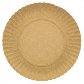 Assiette en Carton Ronde Kraft 180 mm 255g/m2 (800 Unités)
